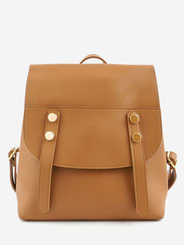 Trendy Flap PU Leather School Backpack