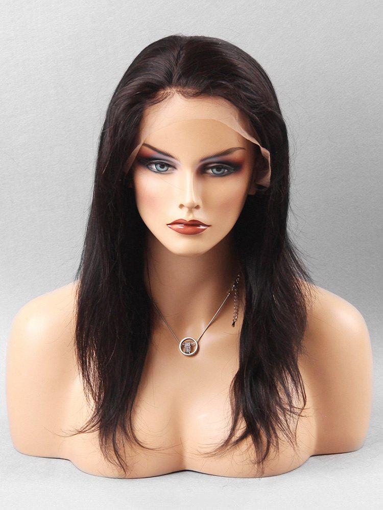 Chic Long Straight Human Hair Lace Front Wig
