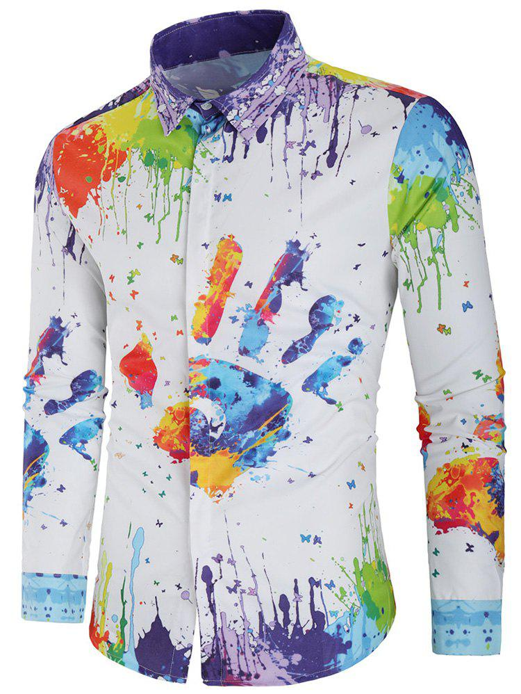Buy Colorful Splatter Handprint Paint Button Hidden Shirt