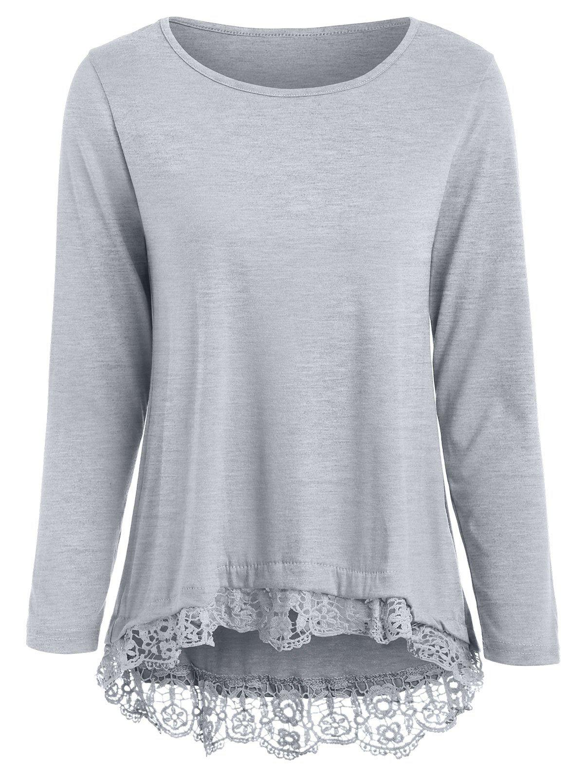 Affordable Stylish Lace Spliced Hem Long Sleeve Gray T-Shirt For Women
