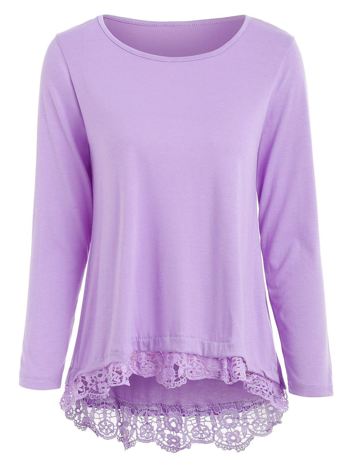 Chic Stylish Solid Color Lace Spliced Hem Long Sleeve T-Shirt For Women