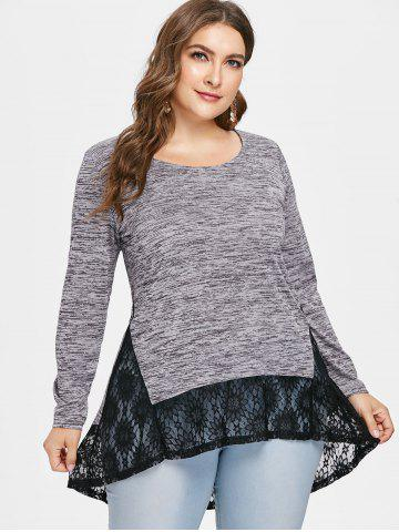 Plus Size Lace Insert High Low T-shirt