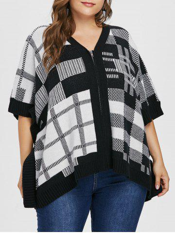 Checked Plus Size Full Zip Sweater Coat - BLACK - ONE SIZE