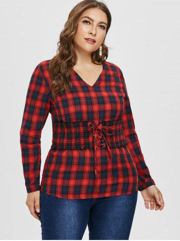Lace Up Corset Plus Size Tartan Shirt