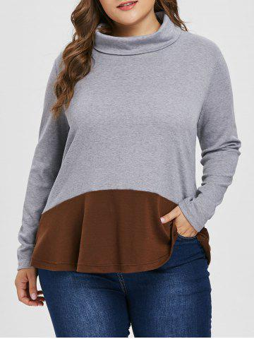 Sweat-shirt Tunique de Grande Taille en Blocs de Couleurs