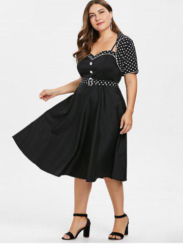 5384d02a8f0ee Plus Size Polka Dot Flare Dress with Shawl