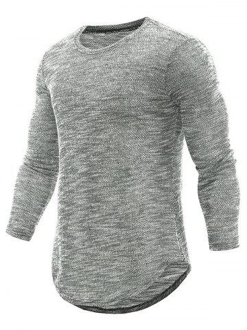 Longline Long Sleeve Textured Print Knit T-Shirt