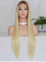 Long Free Part Colormix Straight Lace Front Synthetic Wig -
