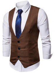 Solid Color Layered Decoration Formal Vest -