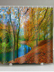 Fall Forest River Print Waterproof Shower Curtain -
