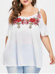 Plus Size Cold Shoulder Embroidered Blouse -