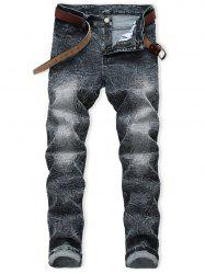 Casual Zip Fly Faded Wash Jeans -