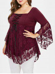 Plus Size Square Collar Lace Edges Peplum Top -