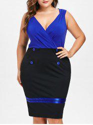 Plus Size Buttoned Sleeveless Surplice Dress -