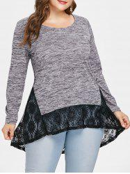 Plus Size Lace Insert High Low T-shirt -