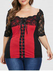 Plus Size Lace Up Sweetheart Neck T-shirt -