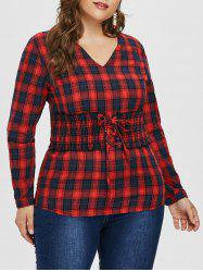 Lace Up Corset Plus Size Tartan Shirt -