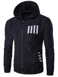 Hooded Number Print Zip Up Sunscreen Jacket -