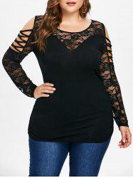 Plus Size Lace Sleeve Cold Shoulder Tunic Tee -
