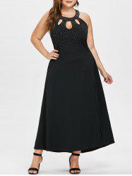 Plus Size Beading Maxi Prom Dress -