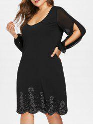 Plus Size Slit Sleeve Scalloped Dress -