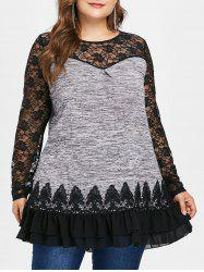 Plus Size Lace Insert Sheer Ruffled Tunic Tee -