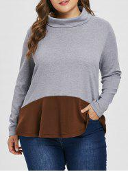 Sweat-shirt Tunique de Grande Taille en Blocs de Couleurs - Gris 4X