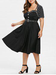 Plus Size Polka Dot Flare Dress with Shawl -