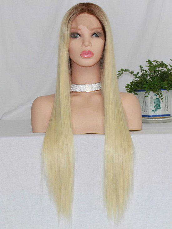 Trendy Long Free Part Colormix Straight Lace Front Synthetic Wig
