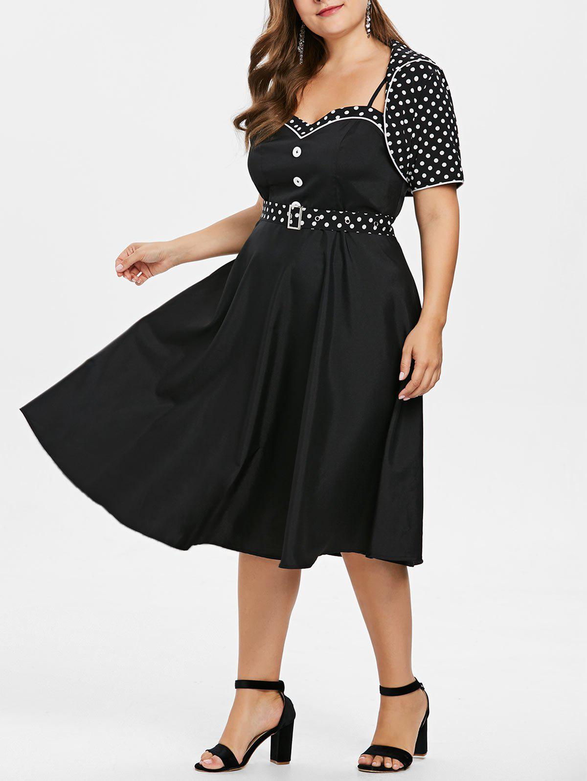 Cheap Plus Size Polka Dot Flare Dress with Shawl