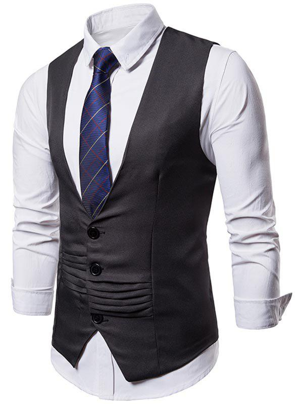 New Solid Color Layered Decoration Formal Vest