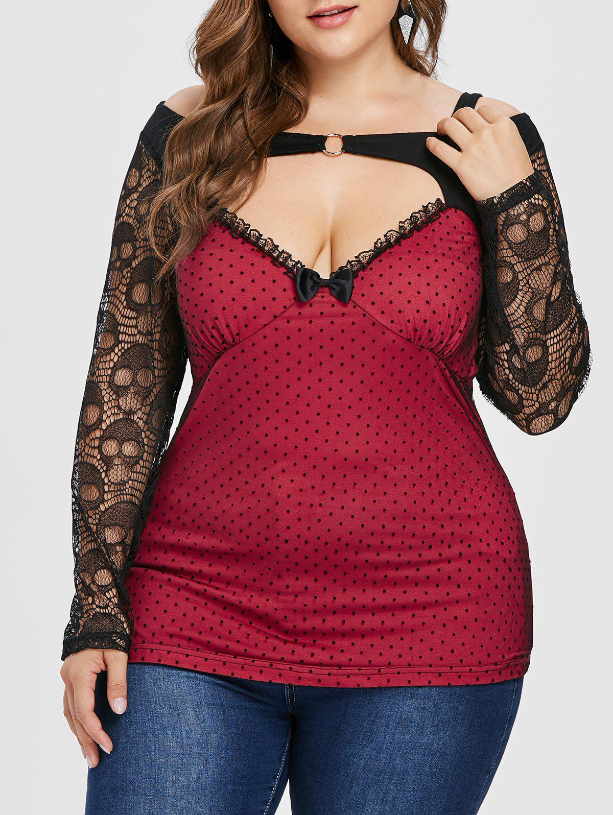 Shops Polka Dot Plus Size Cold Shoulder Lace Tee