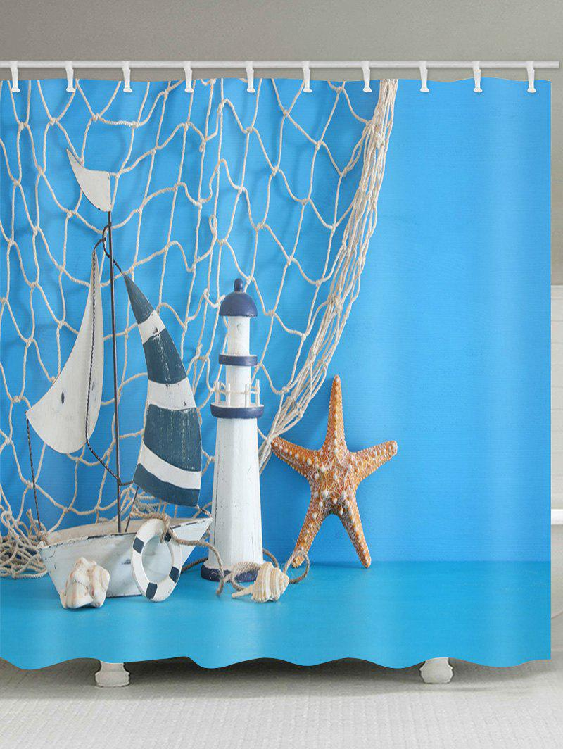 Sailboat Lighthouse Print Bathroom Shower Curtain