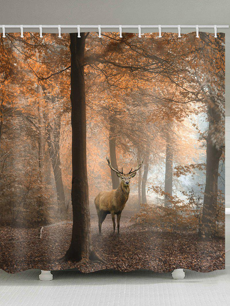 Chic Deer In The Autumn Forest Print Bathroom Shower Curtain