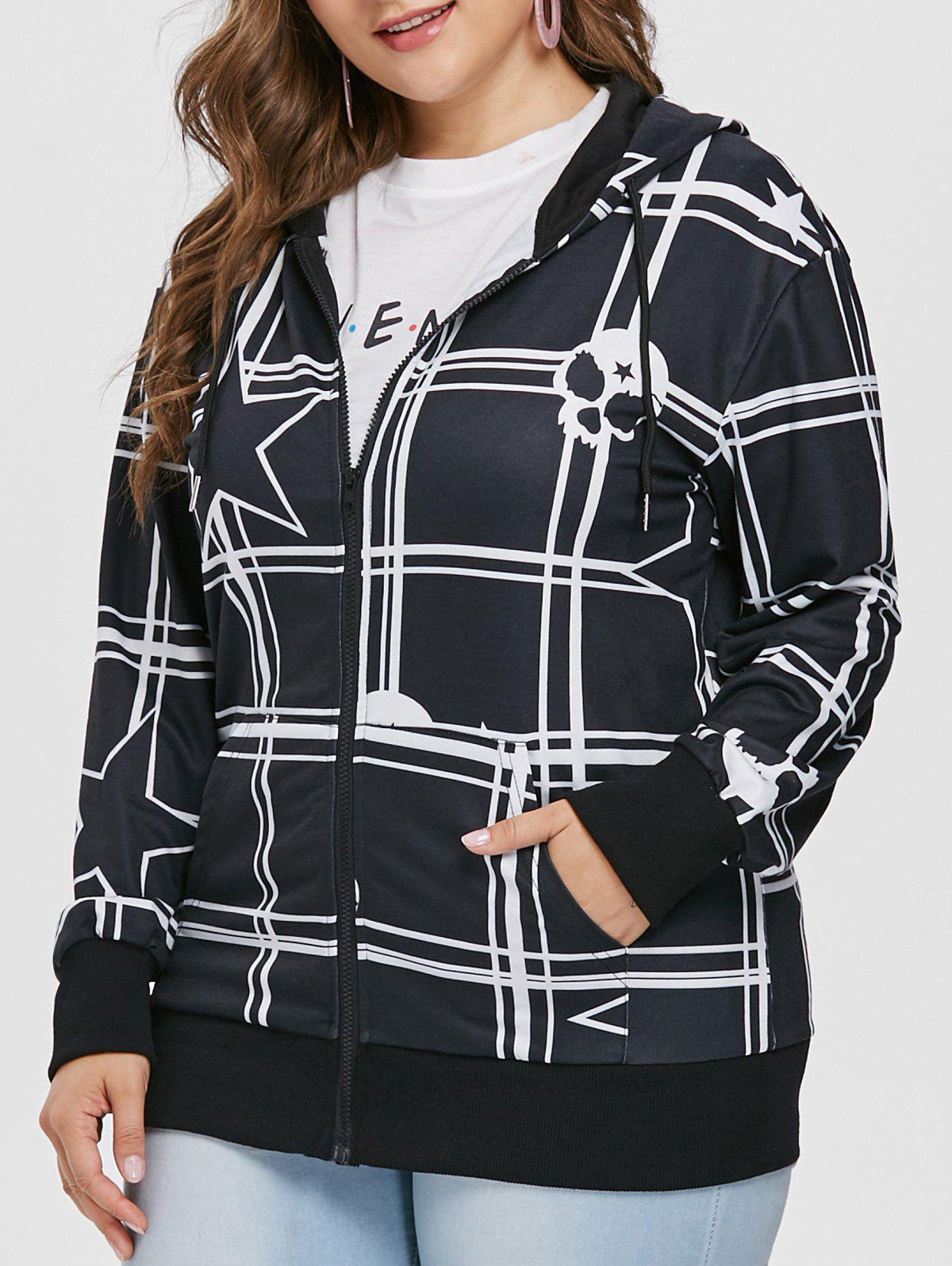 Discount Star and Skull Print Plus Size Zipper Hoodie