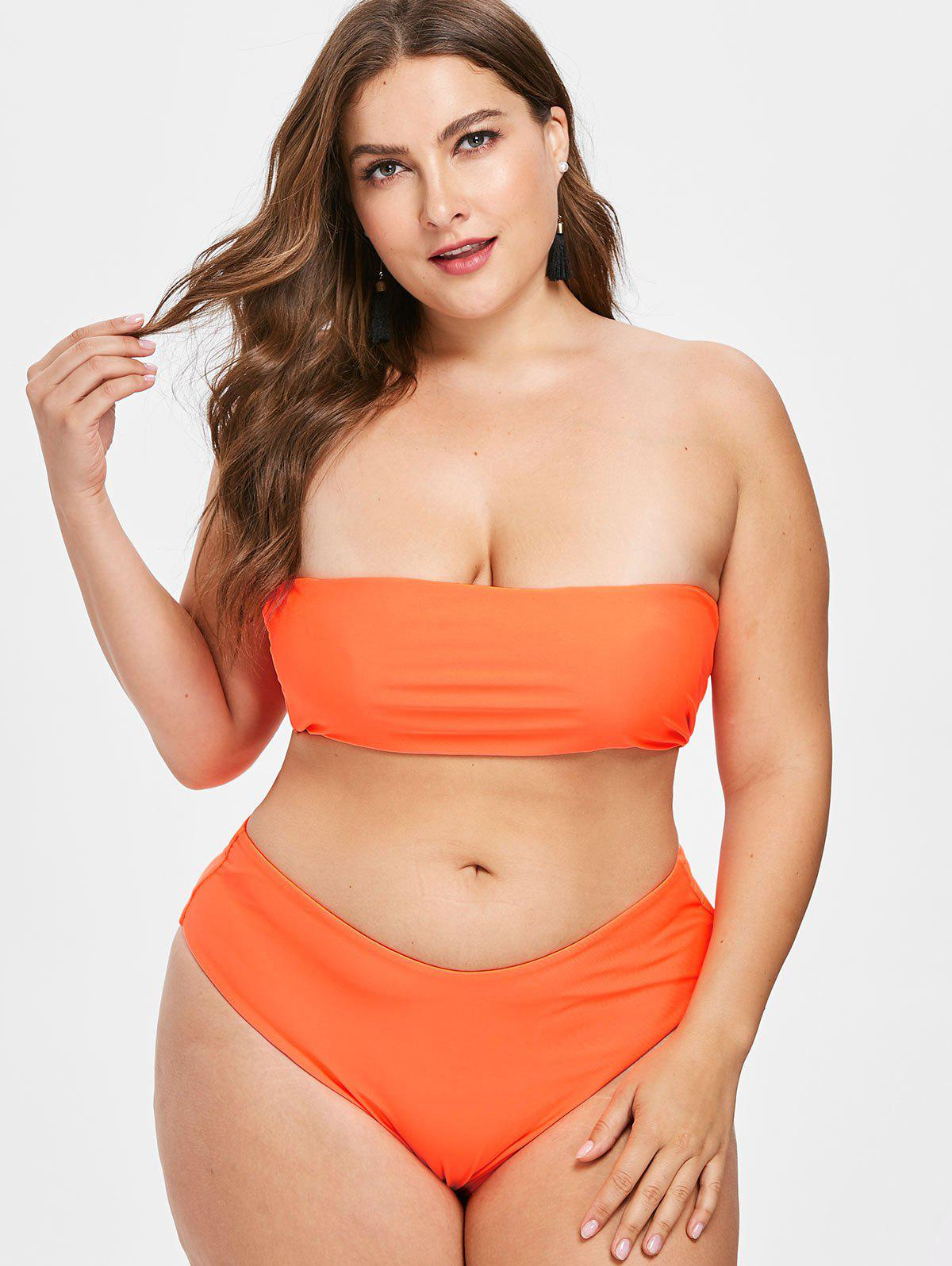 Ensemble de Bikini Sans Bretelle de Grande Taille Orange 3X