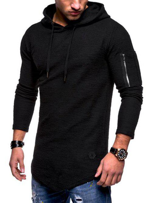 Cheap Long Sleeve Zip Embellished Hoodie