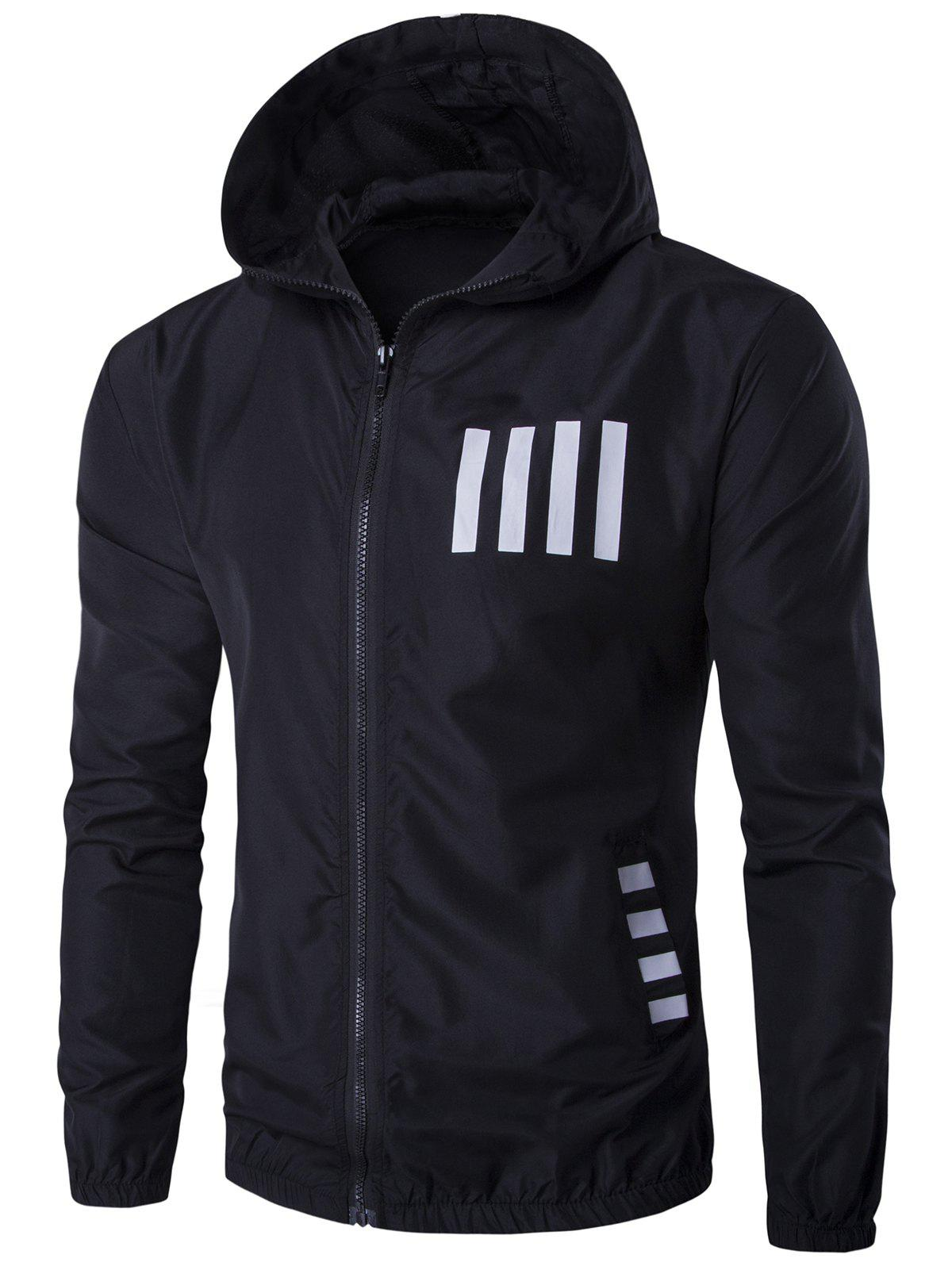 New Hooded Number Print Zip Up Sunscreen Jacket