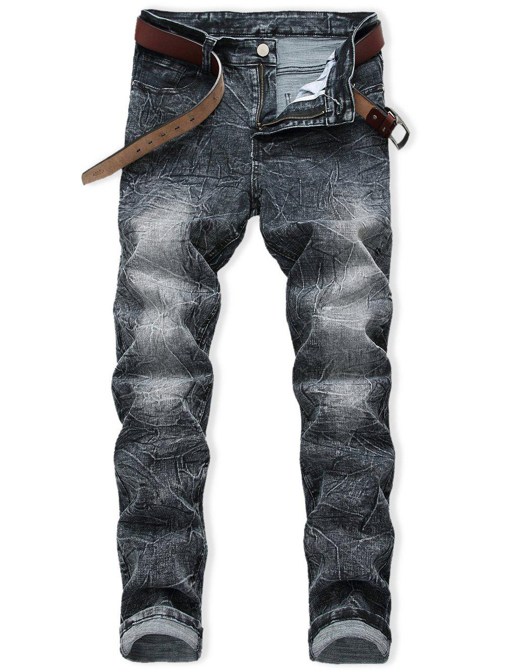 Discount Casual Zip Fly Faded Wash Jeans
