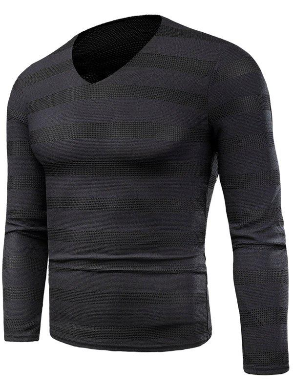 Store Wide Striped Long Sleeve Mesh T-shirt