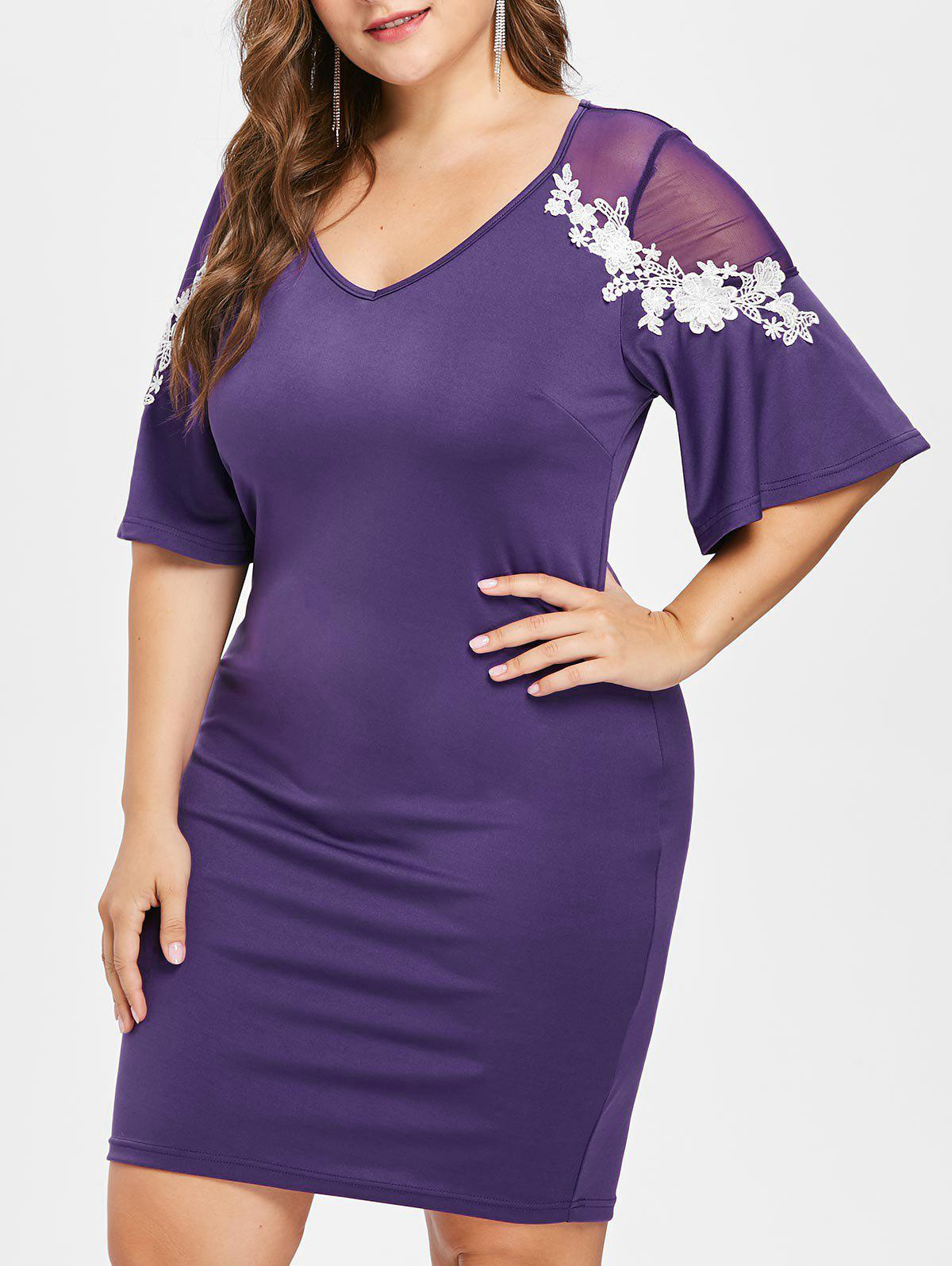New Plus Size V Neck Flare Sleeve Fitted Dress