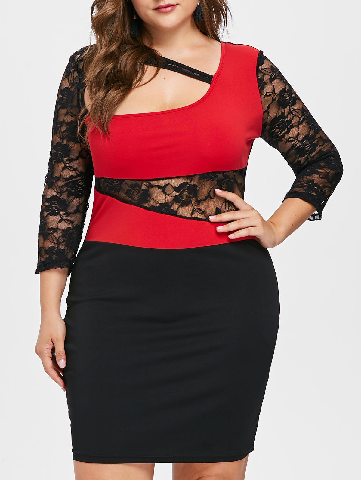 Affordable Lace Sleeve Plus Size Cut Out Bodycon Dress