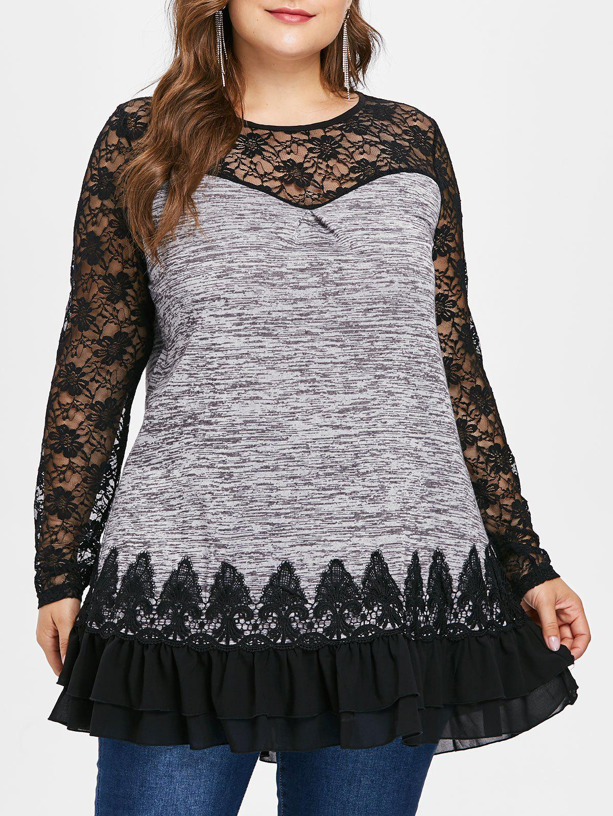 Hot Plus Size Lace Insert Sheer Ruffled Tunic Tee