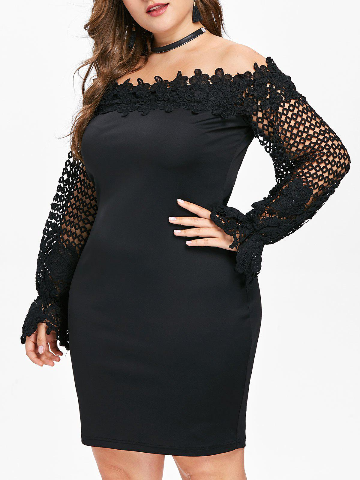 61c2f326d88df 41% OFF] Applique Off The Shoulder Plus Size Bodycon Dress | Rosegal