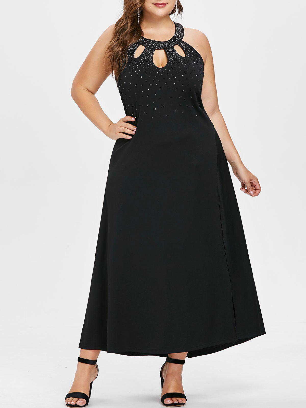 f750789f0cb Discount Plus Size Beading Maxi Prom Dress