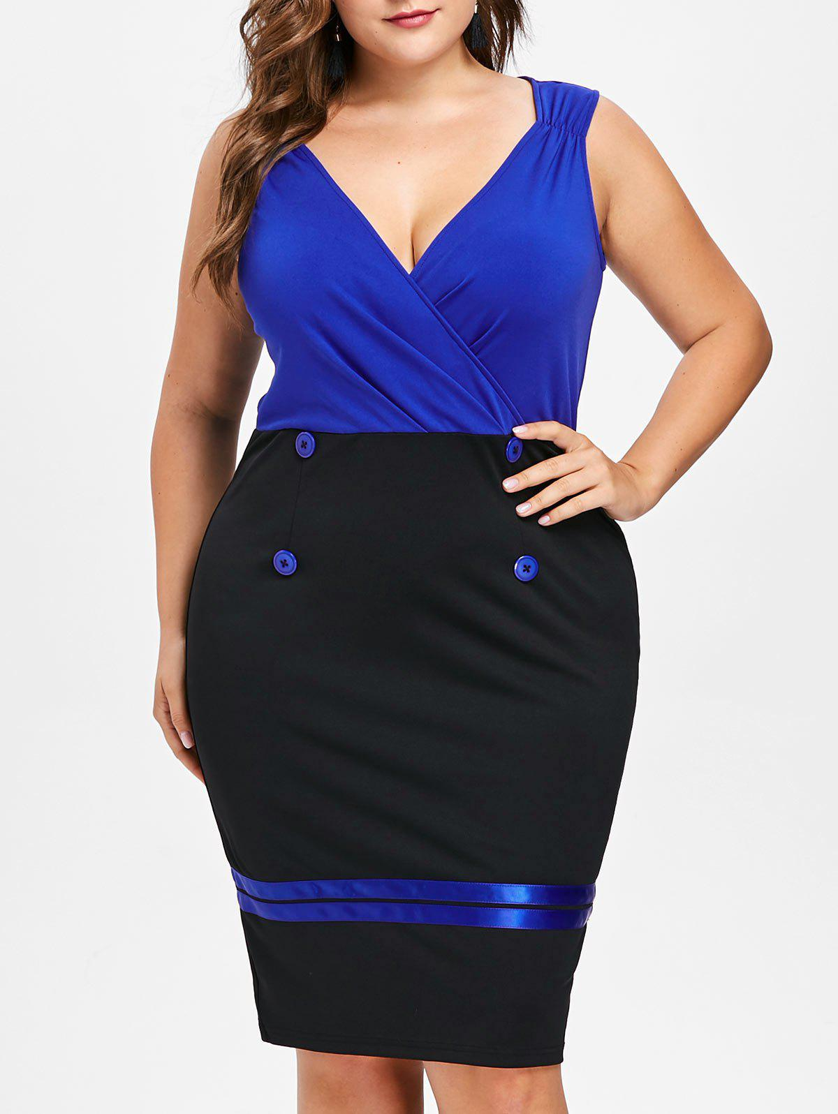 Outfit Plus Size Buttoned Sleeveless Surplice Dress