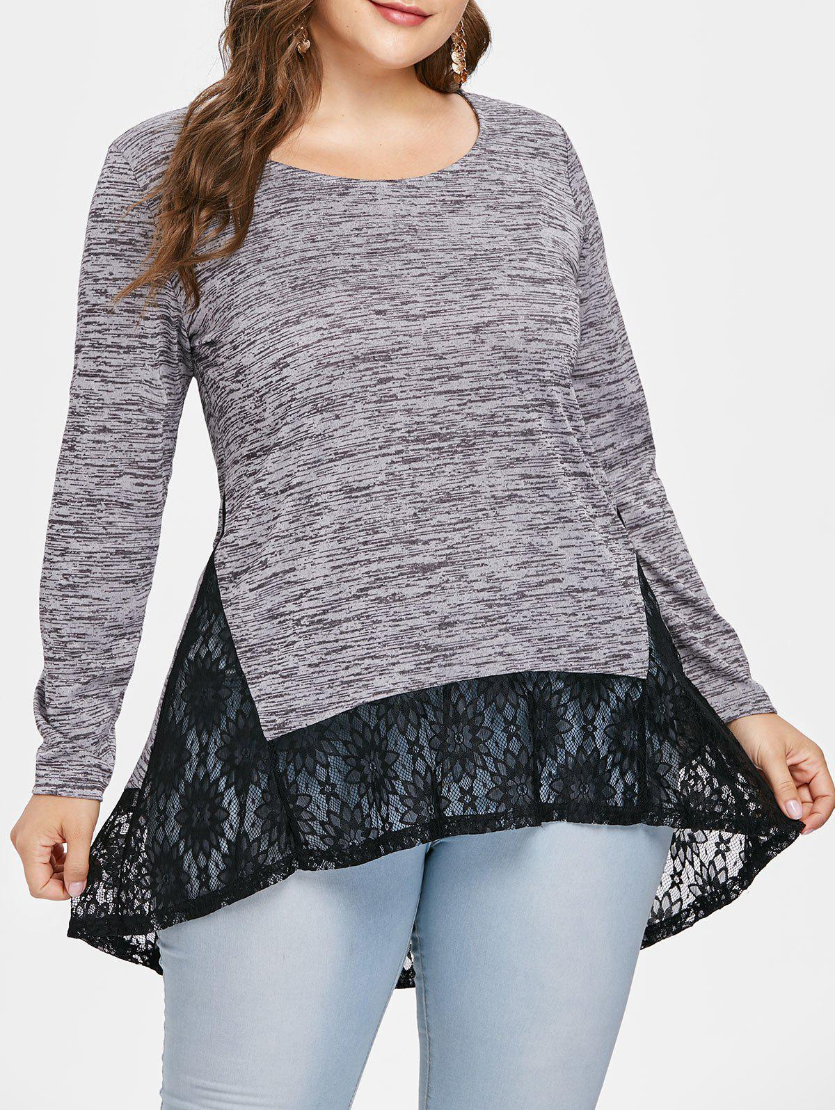 Outfits Plus Size Lace Insert High Low T-shirt