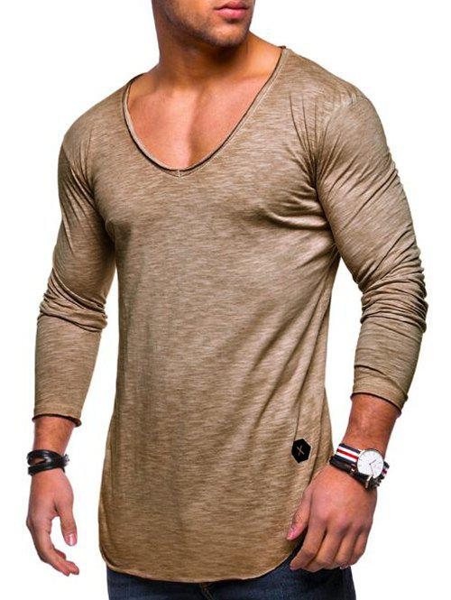 Buy Applique Solid Color Long Sleeve T-shirt