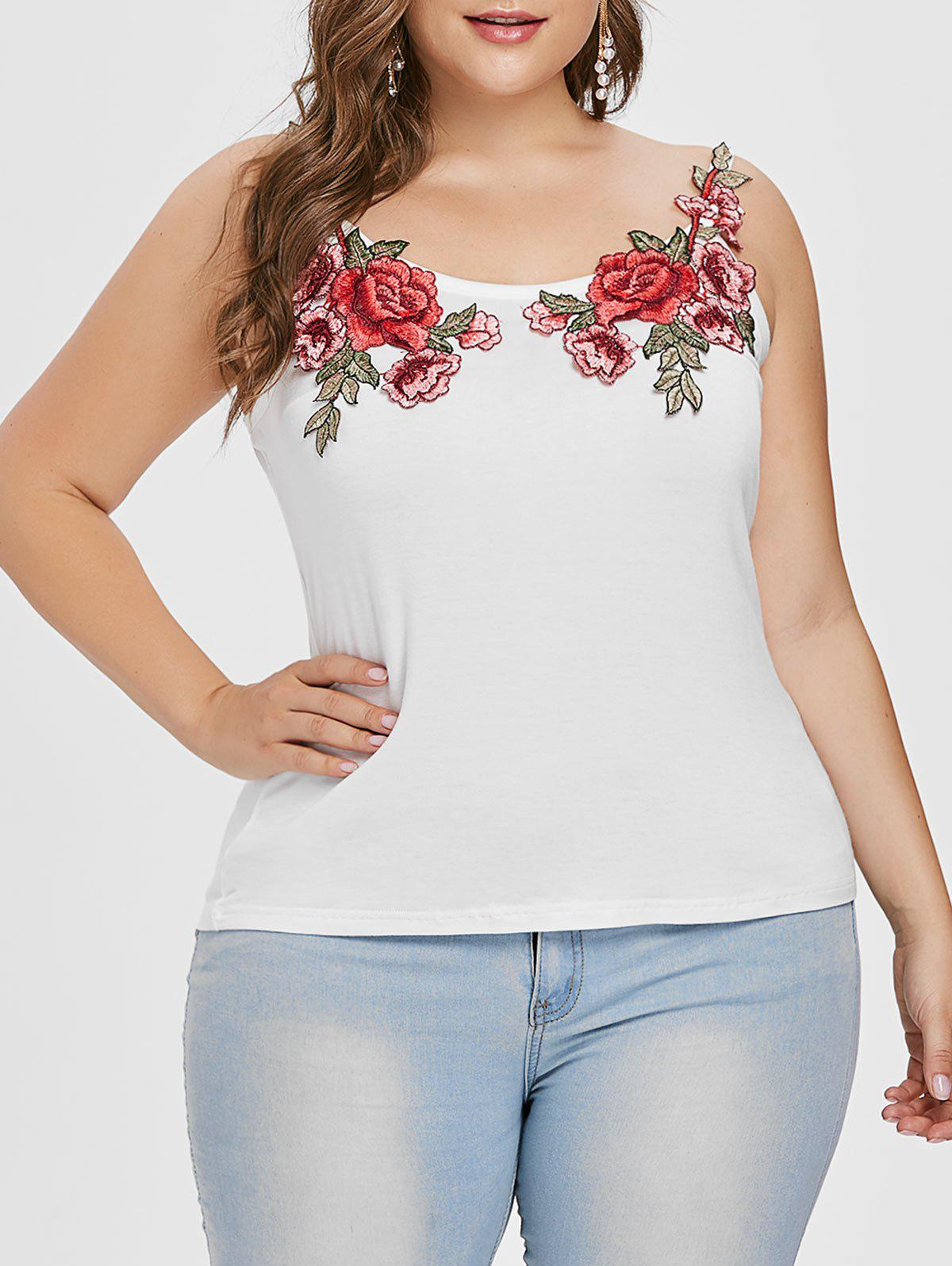Chic Plus Size Embroidery Cami Top