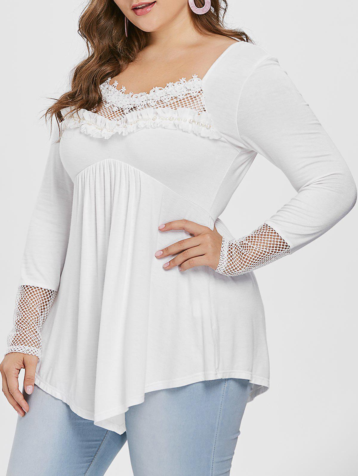 b3274874b27 2019 Plus Size Fishnet Panel Beaded Tunic Tee